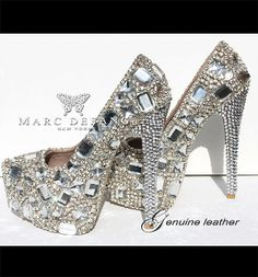 High Heel Genuine Leather Clear crystal Snow diamond Platforms