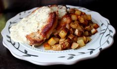 Skillet Pork Chops and Gravy with Fried Potatoes - Jamie Cooks It Up! Printable Recipes