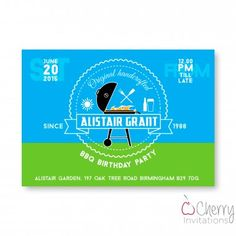 Blue & Green BBQ Themed Single Sided Personalised Birthday Invitations - From as little as per card - Including free envelopes and delivery on all orders! Green Bbq, Blue Green, Personalized Invitations, Envelopes, Birthday Invitations, Delivery, Birthday Parties, Party, Free