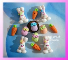 Easter Bunny Set  Polymer Clay Bead Cham by rainbowdayhappy, $14.50