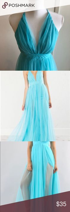 "Luxxe Tulle Maxi Dress! 👗 Fit is true to size.  Size S. Bust 32"". Waist 24"". Hips 35"" . It has a lining with two slits. Back zipper. See pics! Luxxel Dresses Maxi"