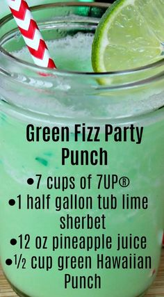 Fizz Party Punch Green Fizz Party Punch ~ Quick, easy to make and the taste is amazing.Green Fizz Party Punch ~ Quick, easy to make and the taste is amazing. Kid Drinks, Summer Drinks, Cocktail Drinks, Cocktails, Summer Drink Recipes, Frozen Drinks, Christmas Drinks, Holiday Drinks, Christmas Punch