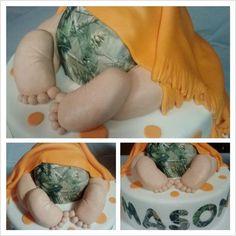 Camo baby shower cake