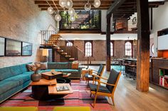 15 abandoned warehouses that were transformed into totally habitable homes // Tribeca warehouse apartment with a sunken rooftop solarium