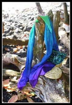Hand dyed silk scarf peacock colors. Another beautiful veil!