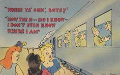 "Vintage WWII humor postcard ""Where ya' goin', boys?"", posted 1943, war stamp - bidding starts at $5.99"