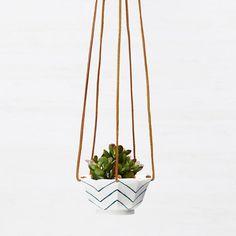 Chevron Hanging Succulent Planter in Porcelain by redravenstudios