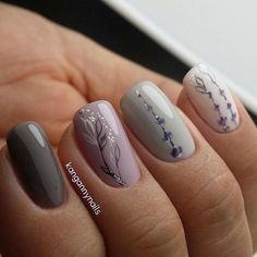 Nail Art Nails Spring nails, Nail designs, Autumn nails fall nails how to - Fall Nails Best Nail Art Designs, Colorful Nail Designs, Nail Designs Spring, Beautiful Nail Designs, Grey Nail Designs, Colorful Nails, Trendy Nails, Cute Nails, My Nails