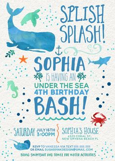 Under the Sea Birthday Invitations Sea Creature Birthday Invites