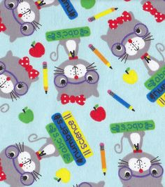 Suggle Flannel Fabric-Smarty Cat | Teacher Fabric
