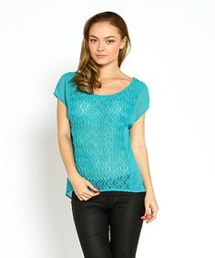 Emerald Sheer Lace Drape Top