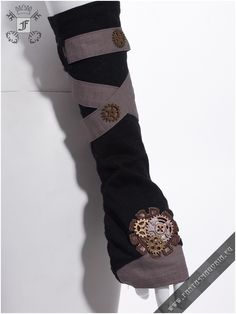 Ragdoll washout brown gloves. Steampunk style long fingerless gloves with removable strap. Item code: SP030 Made by Red Queen's Black Legion | Fantasmagoria.eu - Gothic Fashion boutique