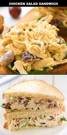 This classic chicken salad sandwich recipe is an easy, delicious go-to lunch for our family. This traditional Southern favorite is quick to make ahead and offers delicious flavor you'll crave. It's spectacular! recipes for two recipes fry recipes Salat Sandwich, Chicken Sandwich Recipes, Recipe Chicken, Gourmet Chicken Salad Recipe, Simple Sandwich Recipes, Chicken Avocado Sandwich, Club Sandwich Recipes, Best Egg Salad Recipe, Chicken Wrap Recipes