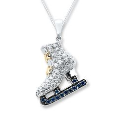 Ice Skate Necklace Lab-Created Sapphires Sterling Silver