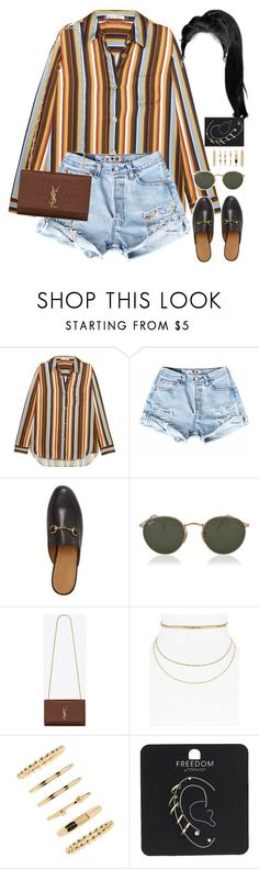"""09.08.17"" by jamilah-rochon ❤ liked on Polyvore featuring Acne Studios, Gucci, Ray-Ban, Yves Saint Laurent, Aqua, Forever 21 and Topshop"