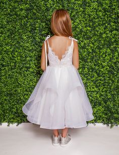 Style 5825 Lillian La Petite by Hayley Paige flower girl dress - Ivory lace mini-ball gown, scalloped neckline and ribbon-tie straps, cascading tulle skirt. Available in: Ivory/Cashmere/Ivory Ivory Flower Girl Dresses, Girls Dresses, Flower Girls, Bridal Gowns, Wedding Dresses, Hayley Paige, Tulle Dress, Ball Gowns, Neckline