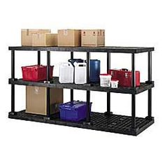 """DURASHELF® 2-Shelf Unit 36""""x24"""" by DURASHELF®. $139.00. Line your storage room with this easy-to-assemble STRUCTURAL PLASTICS Dura-Shelf Shelving. To assemble simply snap leg collars into open grid shelving. Heavy-duty plastic construction supports bulky items like paper boxes and toner cartridges. 24""""H legs. Lightweight, non-corrosive."""