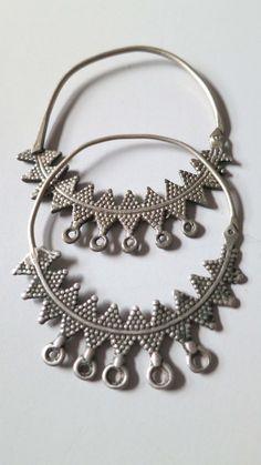 Antique silver tribal ethnic Berber earrings hoops, Aures Algeria / Morocco