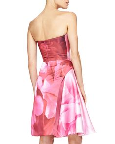 Peony-Print Strapless Cocktail Dress