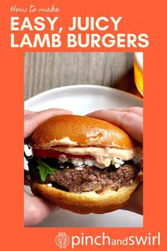 I'm not exaggerating when I call these the ultimate Lamb Burgers. They're easy to make with this recipe: freshly ground lamb shaped, seasoned and cooked to perfection, creamy feta cheese, peppery arugula, sweet tomato and a feather light brioche bun slathered with harissa aioli. #lambburger #lambburgerrecipe #easylambburger #lamb #feta Easy Lamb Recipes, Lamb Burger Recipes, Healthy Grilling Recipes, Healthy Summer Recipes, Real Food Recipes, Brioche Bun, Foil Packet Meals, Lamb Burgers, Lamb Dishes
