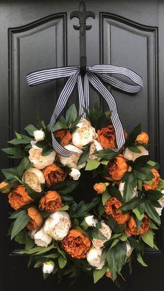 Autumn Wreaths For Front Door, Front Door Decor, Fall Wreaths, Floral Wreaths, Burlap Wreaths, Ribbon Wreaths, Autumn Wreath Diy, Front Doors, Front Porch Fall Decor