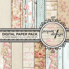 """Shabby chic paper romantic """"Digital paper, roses"""" Pack summer digital paper wood printable background Scrapbook Paper, 7.5 x 7.5 inch #14"""