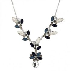 Butterfly by Matthew Williamson Designer mixed blue stone cluster drop necklace- at Debenhams.com