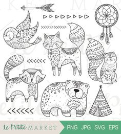 Doodle Stammes-Wald ClipArt Tribal Tiere ClipArt Wald