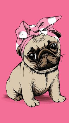 Cute pug puppy with Bandana - pugs pugpuppy babydog dog doggies Doggy pugdog Mops möpse babymops mopswelpe mopswelpen puglove pugart lovepugs doglover doglove dogart dogdraw Wallpaper Pug, Pastell Wallpaper, Tumblr Wallpaper, Iphone Wallpaper, Animals And Pets, Cute Animals, Pug Art, Pug Love, Cute Drawings
