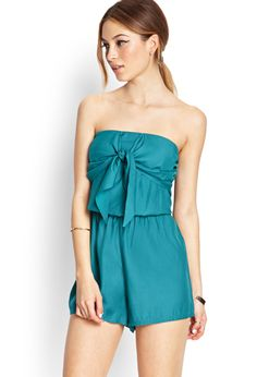 Sweet Tie-Front Romper   FOREVER21 Definitely not for my body type (needs straps), but how perfect for a day at the beach, with some cute sandals and a big floppy hat!