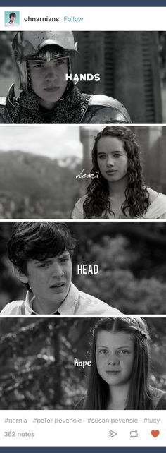 Hands-Peter does Heart-Susan feels Head-Edmund thinks Hope-Lucy hopes in all situations