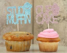 Stud Muffin/Cup cake Gender Reveal cupcake toppers by Glambanners