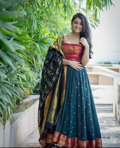 Saree dress - Royal Blue Color Party gown with heavy Banarasi Dupatta by www mongoosekart com Half Saree Lehenga, Saree Gown, Sari Dress, Anarkali Dress, Banarasi Lehenga, Bridal Lehenga, Silk Dress Design, Long Dress Design, Half Saree Designs