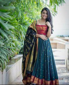 Saree dress - Royal Blue Color Party gown with heavy Banarasi Dupatta by www mongoosekart com Half Saree Designs, Lehenga Designs, Blouse Designs, Churidar Designs, Silk Dress Design, Long Dress Design, Saree Gown, Anarkali Dress, Party Wear Dresses