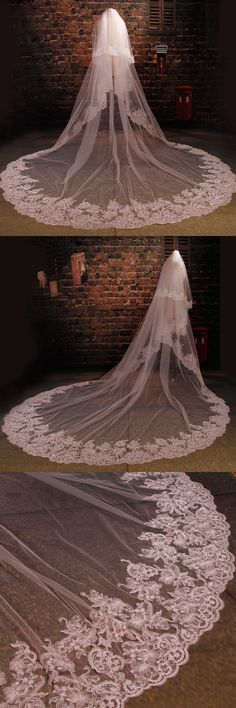 3.5 M Long Cathedral Wedding Veil Two Tiers Appliques Beads Crystal Blings Lace Edge Bridal Purfle Free Comb 2016 velo de novia $79