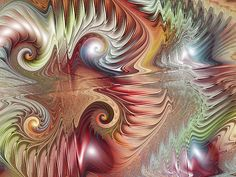 Fractal-inspired abstract art: The spirals here remind me of some pieces of the Mandelbrot set; I'm guessing the artist (Mark Townsend) has added his own touches.
