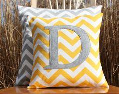 Most Popular Monogrammed Yellow Chevron Throw Pillow Cover - Nursery/Kid Sized