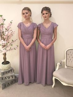 Layla Dress - Chiffon Capped Bridesmaid Dress Sleeve Vintage Prom Gown