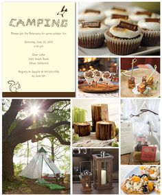Camping theme - pretty cute. Said it was for a wedding shower like the log candles