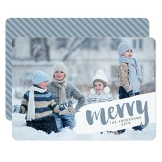 Modern Merry Brush Letter Holiday Photo Card