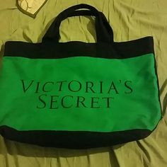 Victoria secret tote bag This tote bag is perfect for the beach and all summer to store your items. Two sided bag blue& green in the back! This tote is big and can fit alot of items. Victoria's Secret Bags Totes