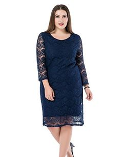 Chicwe Womens Plus Size Lined Lace Dress  34 Sleeves Knee Length Work Casual Party Cocktail Dress Navy 16 * See this great product. (This is an affiliate link) Plus Size Work Dresses, Plus Size Lace Dress, Plus Size Cocktail Dresses, Evening Dresses Plus Size, Lace Dress With Sleeves, Plus Size Outfits, Dresses For Work, Trendy Dresses, Casual Dresses For Women
