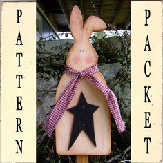 Digital Wood Pattern (you Print) Primitive Country Bunny Garden Stake
