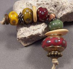 Handmade Lampwork Beads by Mona - Organic Bliss - Antique Golden Brass Copper Earthy Lampwork Beads Boho 2014