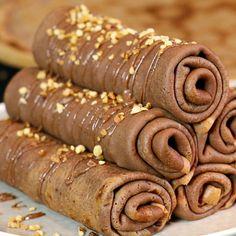 Recette des crêpes au chocolat roulées et garnies