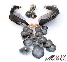 Colección Cromática  Universos para portar  Plata 925, cobre, arcilla polimerica  Gargantilla, anillo, aretes