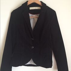 """Anthropologie Daughters of the Liberation Blazer Excellent condition. Anthropologie black velvet jacket/blazer with two button front closure. Fitted waist. Black patch elbows, buttoned cuffs. Cotton blend shell polyester blend lining. Worn only once. It is like new. No stains, rips. Smoke free home. Bust = 32"""", length = 23"""" Anthropologie Jackets & Coats Blazers"""