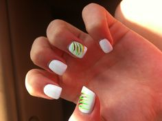 Cute nails for summer! Easy and quick to do! With white nail polish and some green nail polish too!
