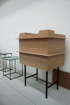 O CÉU - COLLAGE - Sideboard in the factory. Made of Oak Wood and black steel legs