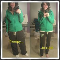Frumpy to cute sweatpants DIY [ok, so this seems like a good idea, but if you're taking the crotch in at all, realize that it'll change the way it sits on your bum-eg don't bend over]